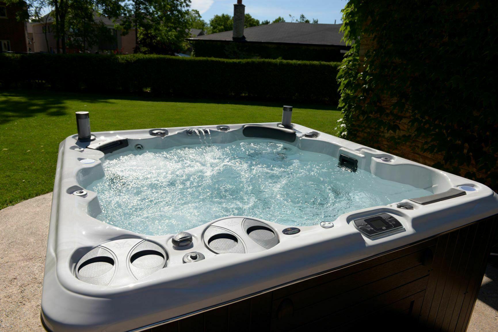 hot tub in sunny garden