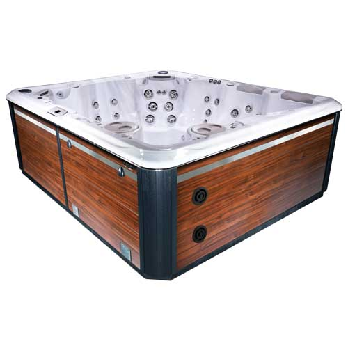 hot tub in Silver Marble and Black Cherry