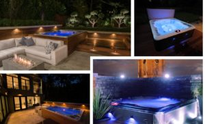 Collage of hot tubs and swim spas with LED lights in our black friday offers